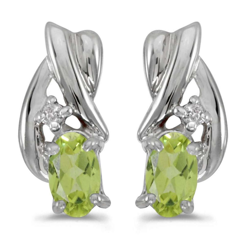 Certified 14k White Gold Oval Peridot And Diamond Earrings 0.4 CTW #PAPPS27007
