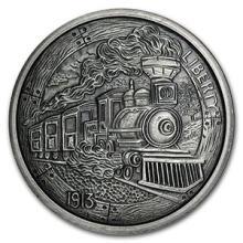 5 oz Silver Antique Round - Hobo Nickel Replica (The Train) #74564v3