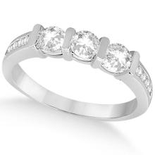 Channel and Bar-Set Three-Stone Diamond Ring Platinum (0.80ct) #69944v3