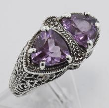 Unique Art Deco Style Genuine Amethyst Filigree Ring - Sterling Silver #97457v2