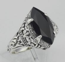 Antique Victorian Style Black Onyx Filigree Ring - Sterling Silver #97306v2