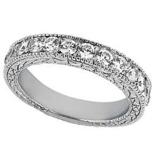 Antique Style Pave Set Wedding Ring Anniversary Band Platinum (1.00ct) #20695v3