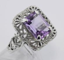 Classic Art Deco Style Amethyst Filigree Ring - Sterling Silver #97462v2