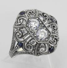 CZ / Sapphire Filigree Ring - Art Deco Style - Sterling Silver #97440v2