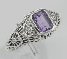 Antique Style Amethyst Filigree Ring with Flower Design - Sterling Silver #97477v2