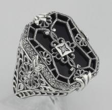 Antique Victorian Style Black Onyx w/ Diamond Filigree Ring Sterling Silver #97307v2