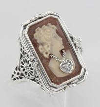Italian Hand Carved Cameo w/ Diamond / Onyx Flip Ring - Sterling Silver #97448v2