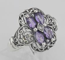 Antique Style Four Stone Amethyst & Diamond Filigree Ring Sterling Silver #97480v2