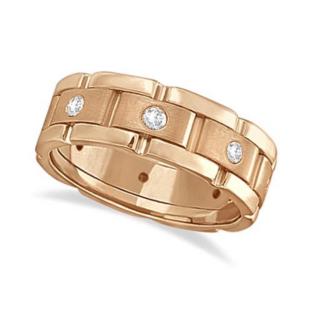 Mens Wide Band Diamond Eternity Wedding Ring 18kt Rose