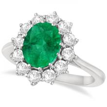 Oval Emerald and Diamond Ring 14k White Gold (3.60ctw) #20914v3