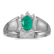 Certified 14k White Gold Oval Emerald And Diamond Ring 0.32 CTW #50643v3