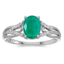 Certified 14k White Gold Oval Emerald And Diamond Ring 0.92 CTW #51371v3
