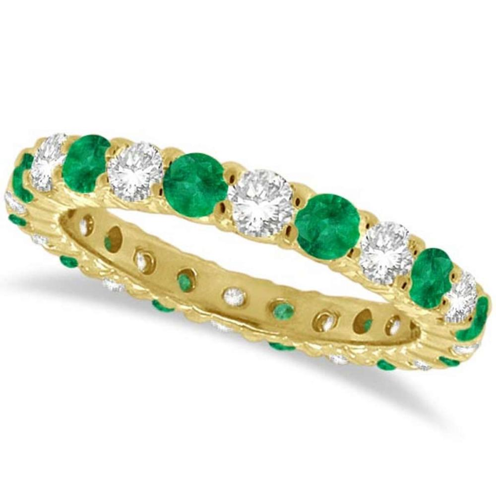 Emerald and Diamond Eternity Ring Band 14k Yellow Gold (1 ... - photo#35