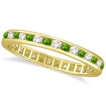 Peridot and Diamond Channel-Set Eternity Ring 14k Yellow Gold (1.04ct) #21326v3