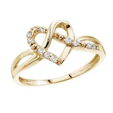Certified 14K Yellow Gold .10 Ct Diamond Heart Ring 0.1 CTW #50833v3