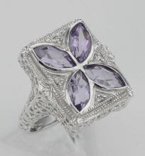 Art Deco Style Filigree Ring w/ amethyst & diamond - Sterling Silver #PAPPS98107