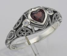 Victorian Style Heart Shaped Genuine Garnet Filigree Ring - Sterling Silver #PAPPS98527