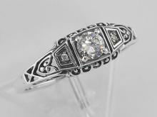Sterling Silver CZ Filigree Ring w/ 2 Diamonds #PAPPS98229