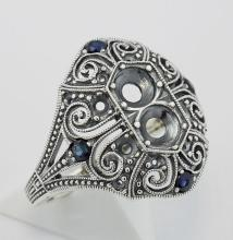 Semi Mount / Sapphire Filigree Ring - Art Deco Style - Sterling Silver #PAPPS98335