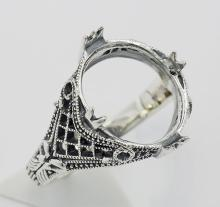 11mm x 14mm Semi Mount Filigree Ring - Sterling Silver #PAPPS98336