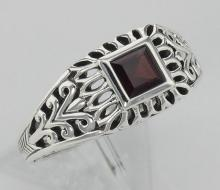 Classic Square Cut Genuine Red Garnet Filigree Ring - Sterling Silver #PAPPS98109