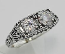 CZ Filigree Ring - Sterling Silver #PAPPS98136