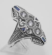 Art Deco Filigree Ring CZ / Sapphires Sterling Silver #PAPPS98134