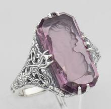 Roman Style Amethyst Crystal Intaglio Filigree Ring - Sterling Silver #PAPPS98135