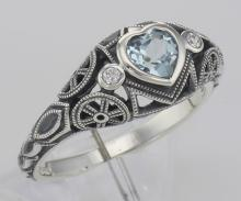 Victorian Style Heart Shaped Genuine Blue Topaz Filigree Ring - Sterling Silver #PAPPS98528