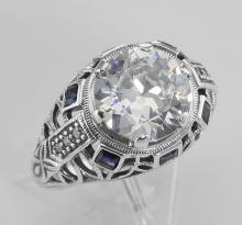 Art Deco Style Sterling Silver Filigree CZ Ring w/ Sapphires #98246v2