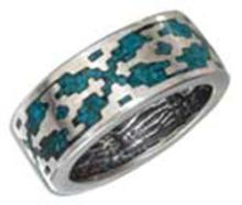 STERLING SILVER RECONSTITUTED TURQUOISE AZTEC UNISEX BAND #17746v3