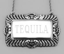 Tequila Liquor Decanter Label / Tag - Sterling Silver #98452v2