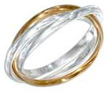 STERLING SILVER AND 18KT GOLD PLATED 2MM THREE BAND RING #17749v3