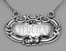 Tequila Liquor Decanter Label / Tag - Sterling Silver #98449v2