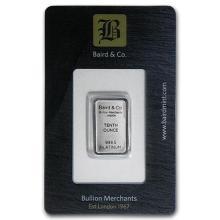 1/10 oz Platinum Bar - Baird & Co. (In Assay) #75640v3