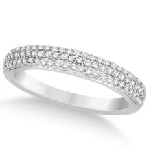 Triple Row Micro Pave Diamond Wedding Band Platinum (0.40ct) #68814v3