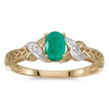 Certified 14k Yellow Gold Oval Emerald And Diamond Ring 0.32 CTW #50893v3
