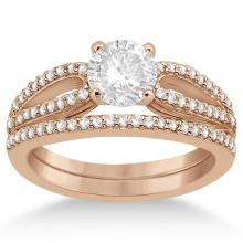 Cathedral Split Shank Diamond Ring and Band Set 18K Rose Gold (0.35ct) #68893v3