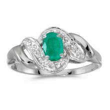 Certified 14k White Gold Oval Emerald And Diamond Swirl Ring 0.32 CTW #51252v3