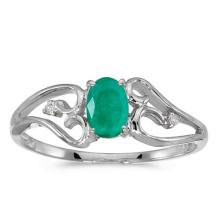 Certified 10k White Gold Oval Emerald And Diamond Ring 0.32 CTW #50712v3