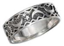 STERLING SILVER MOON AND STAR BAND RING WITH ANTIQUED INSET #17782v3