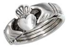 STERLING SILVER ANTIQUED HEART IN HANDS PUZZLE RING #17794v3