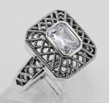Cubic Zirconia Filigree Ring - Sterling Silver #98247v2