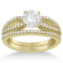 Cathedral Split Shank Diamond Ring and Band Set 18K Yellow Gold (0.35ct) #68892v3