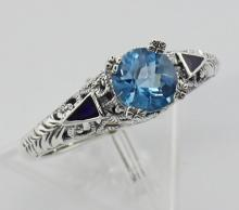 Art Deco London Blue Topaz Ring and Enamel - Sterling Silver #98380v2