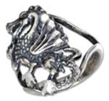 STERLING SILVER DRAGON RING WITH OPEN SHANK #17784v3