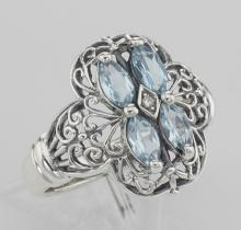 Antique Style Four Stone Blue Topaz and Diamond Ring - Sterling Silver #98233v2