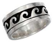 STERLING SILVER 8MM ANTIQUED WAVE WEDDING BAND RING #17757v3