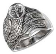 STERLING SILVER ANTIQUED OWL RING #17722v3