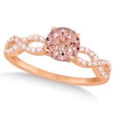Diamond and Morganite Infinity Engagement Ring 14K Rose Gold 1.45ct #PAPPS21110